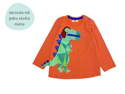 oranžové tričko s dinosaurem