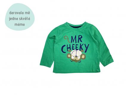 zelené tričko s opičkou