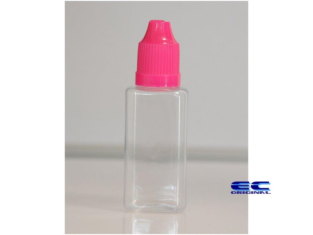 Prázdná lahvička komplet 30ml PET Hranatá (víčko růžové)