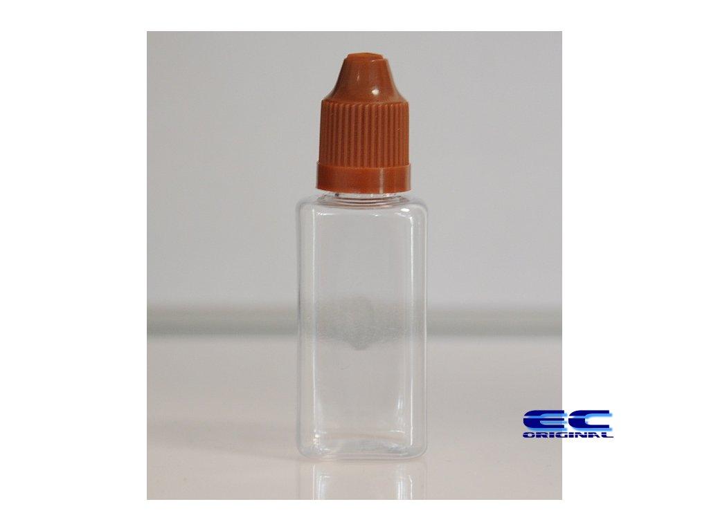 Prázdná lahvička komplet 30ml PET Hranatá (víčko hnědé)