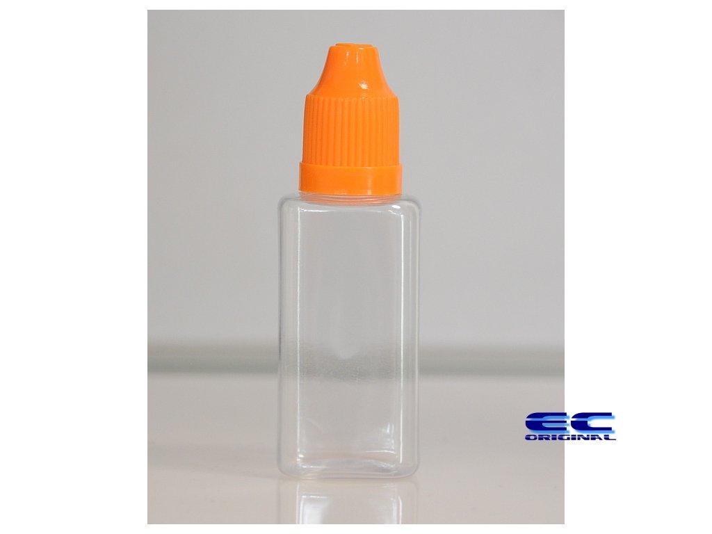 Prázdná lahvička komplet 30ml PET Hranatá (víčko oranžová tmavá)