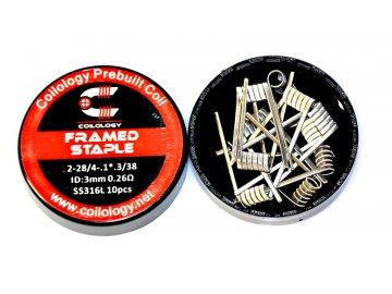 Coilology předmotané spirálky Framed Staple, SS316L 0,26