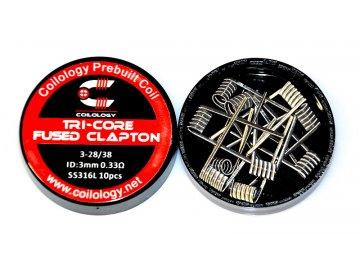 Coilology předmotané spirálky Tri Core Fused Clapton, SS316L 0,33