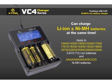 Xtar VC4 LCD USB nabíječka pro Li-Ion/Mn/Ni-MH