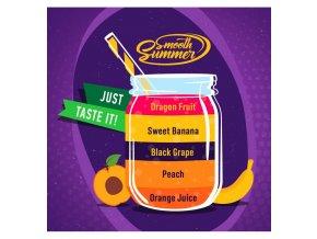 Orange Juice, Peach, Black Grape, Sweet Banana, Dragon Fruit - příchuť Big Mouth