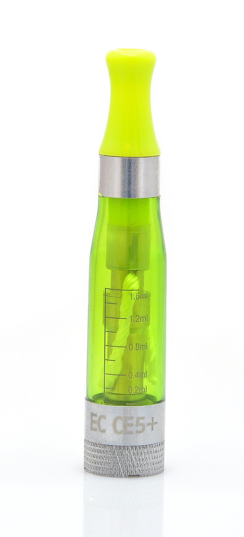 EC-Original EC CE5+ Barva: Zelená, Odpor: 2,4ohm, Objem: 1,6ml, Náustek: V barvě clearomizéru, Tip: eGo, Plnění: Vrchní, Barva základny: Stříbrná, Nádržka: Plast