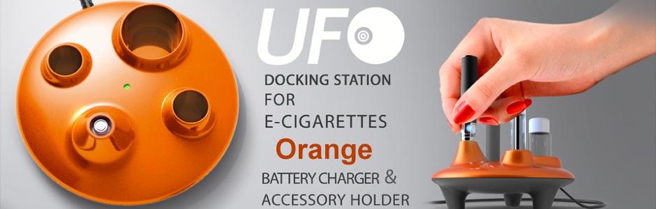 ICO Italy UFO EGO Docking station - Stylový stojánek na eGo cigarety s nabíječkou - USB Barva: Oranžová, Kategorie: Nabíječka USB, Model: USB nabíječka eGo, Vstup: DC 5V 500mA, Výstup: DC 4,2V 420mA