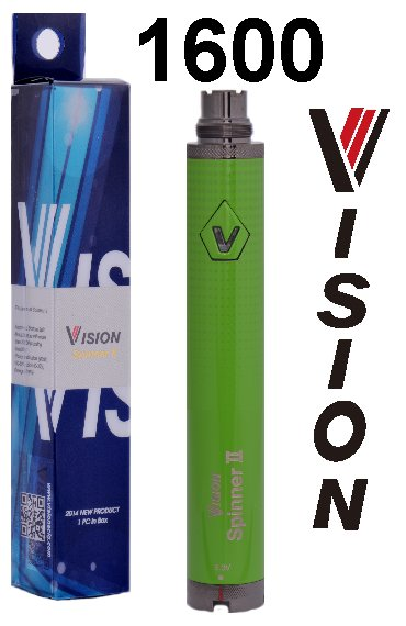 Baterie VISION Spinner 2 Barva: Zelená, Kategorie: Baterie 510/eGo, Napětí baterie: VV variabilní napětí 3,3v - 4,8v, Kapacita Baterie: 1600mAh