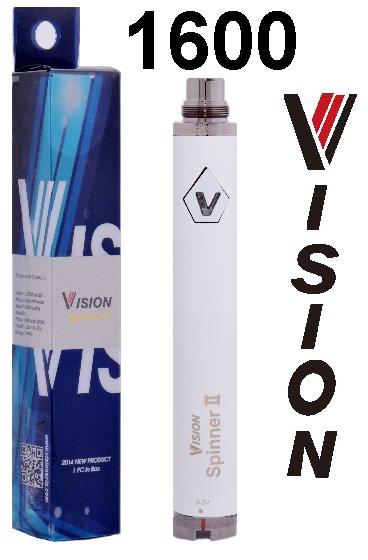 Baterie VISION Spinner 2 Barva: Bílá, Kategorie: Baterie 510/eGo, Napětí baterie: VV variabilní napětí 3,3v - 4,8v, Kapacita Baterie: 1600mAh