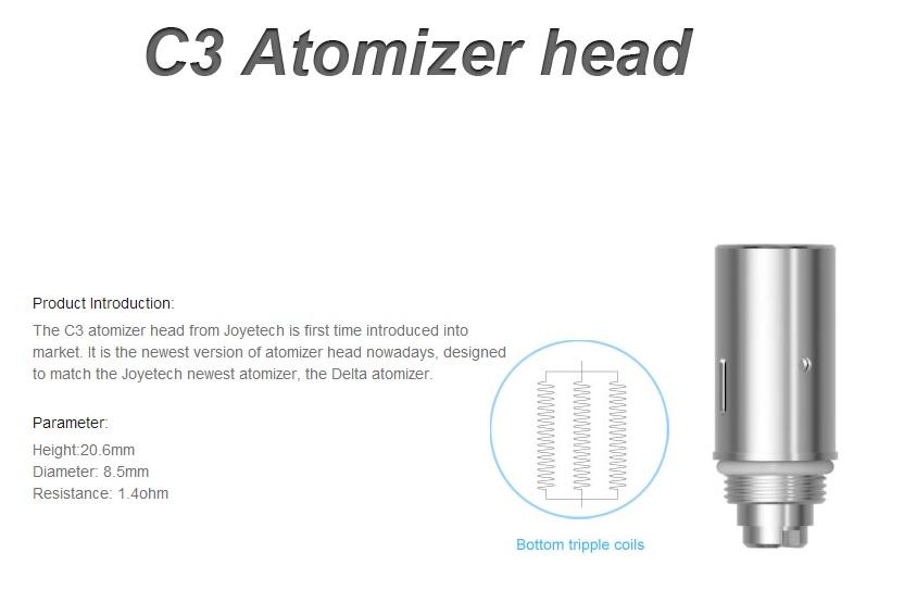 Atomizér Joyetech C3 (hlava) Odpor: 1,4ohm, Kategorie: Atomizér, Knot: Krátký, Systém hlavy: 3x spirálka