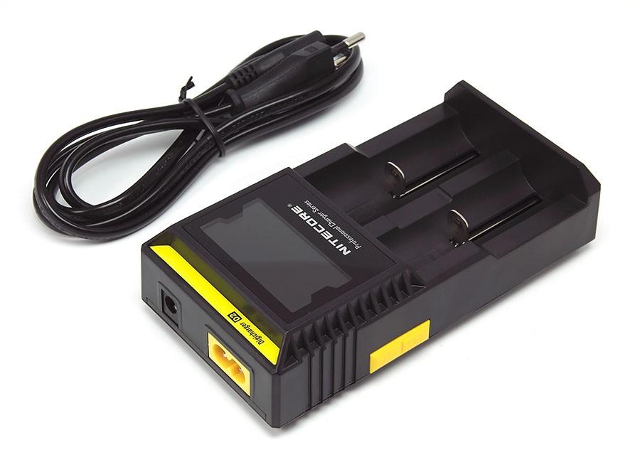 Nabíječka Nitecore Digicharger D2 Barva: Černá, Kategorie: Nabiječka Univerzální, Model: AC Nabíječka Univerzální, Vstup: 100-24Vac 50/60hz 12V, Výstup: DC 4.2V 375/750mAh
