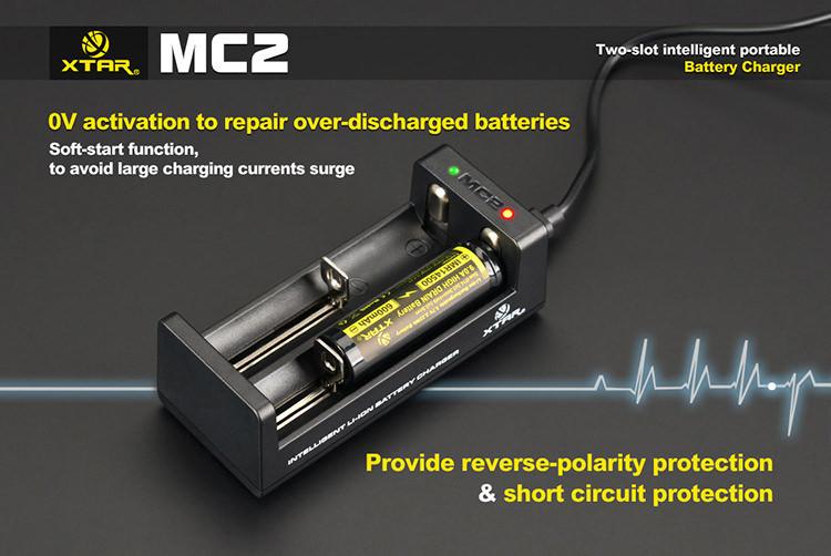 Xtar MC2 USB nabíječka dvouslotová pro Li-Ion/Mn Barva: Černá, Kategorie: Nabiječka Univerzální Li-ion, Model: Nabíječka Li-ion, Vstup: USB nabíječka, Výstup: CC 250/500mAh