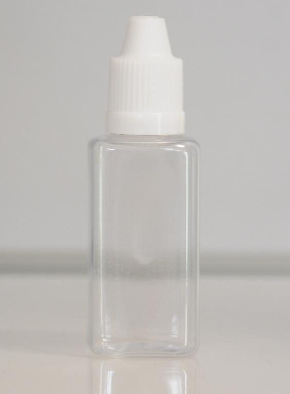 Tobeco Prázdná lahvička komplet 30ml PET Hranatá (víčko bílé)