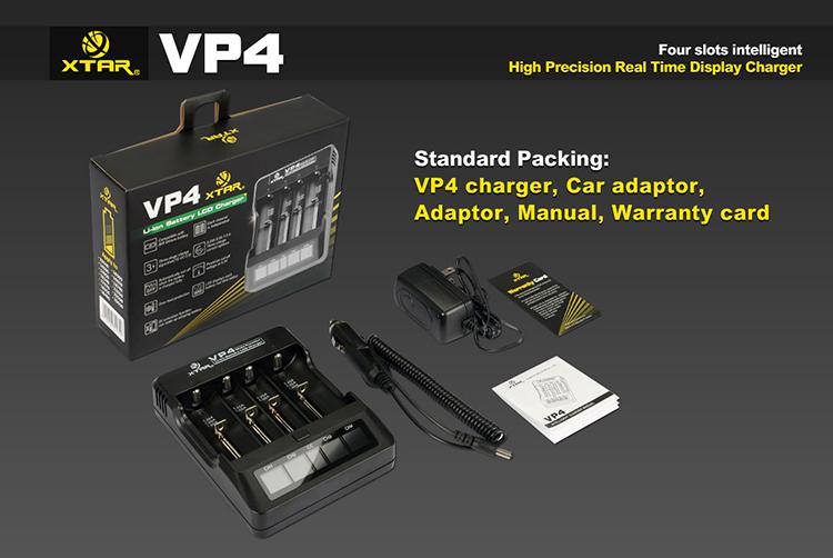Xtar VP4 Digital Inteligent - nabíječka pro Li-ion / Li-Mn baterie Barva: Černá, Kategorie: Nabiječka Univerzální Li-ion, Model: AC Nabíječka Li-ion, Vstup: AC 110-220V nebo DC12V (1A), Výstup: CC 1000mah