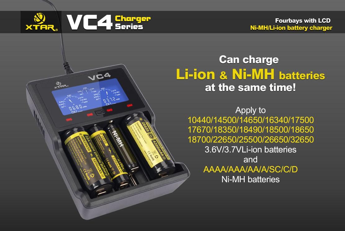 Xtar VC4 LCD USB nabíječka pro Li-Ion/Mn/Ni-MH Barva: Černá, Kategorie: Nabiječka Univerzální Li-ion, Model: Nabíječka Li-ion, Vstup: USB nabíječka, Výstup: 150-1000mAh