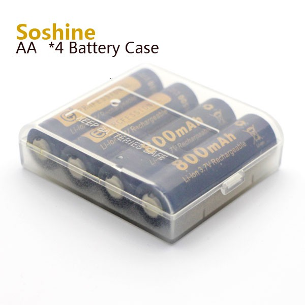 SOSHINE Pouzdro pro baterie 4x14500 Průhledné