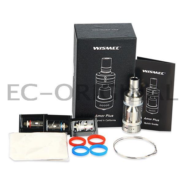 WISMEC Amor Plus clearomizér - 3.8ml Barva: Stříbrná, Odpor: 0,5ohm, Objem: 3,8ml, Tip: 510, Plnění: Vrchní, Barva základny: Stříbrná, Nádržka: Sklo/Pyrex
