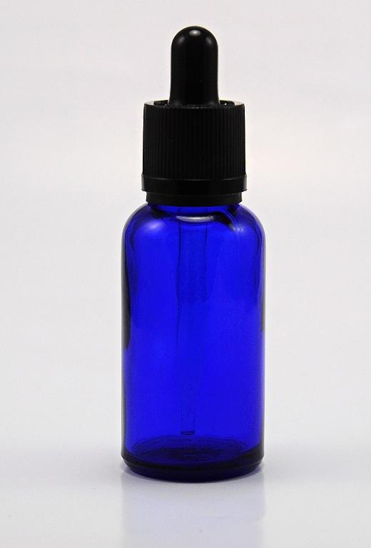 EU Prázdná lahvička 30ml kompletní s kapátkem - skleněná modrá V2 Barva: Modrá, Objem: 30ml, Funkce: Kapátko, Barva vršku: černá