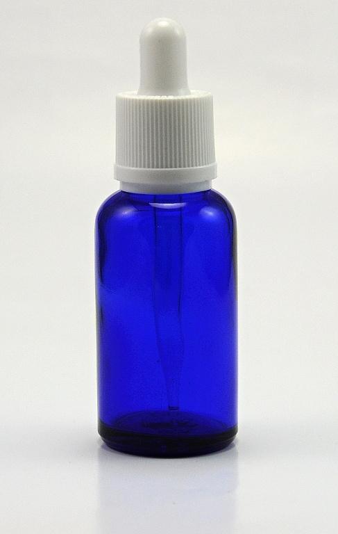 EU Prázdná lahvička 30ml kompletní s kapátkem - skleněná modrá V2 Barva: Modrá, Objem: 30ml, Funkce: Kapátko, Barva vršku: Bílá