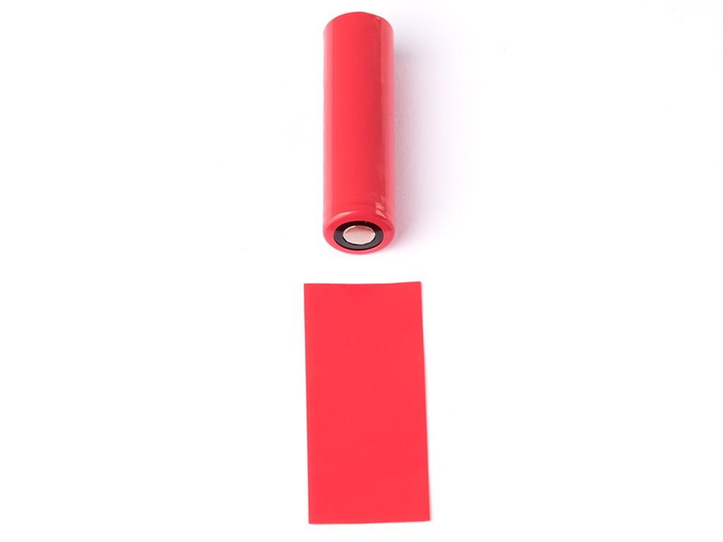 EU PVC teplem smršťovací obal na 18650 baterie Barva: Červená, Materiál: PVC