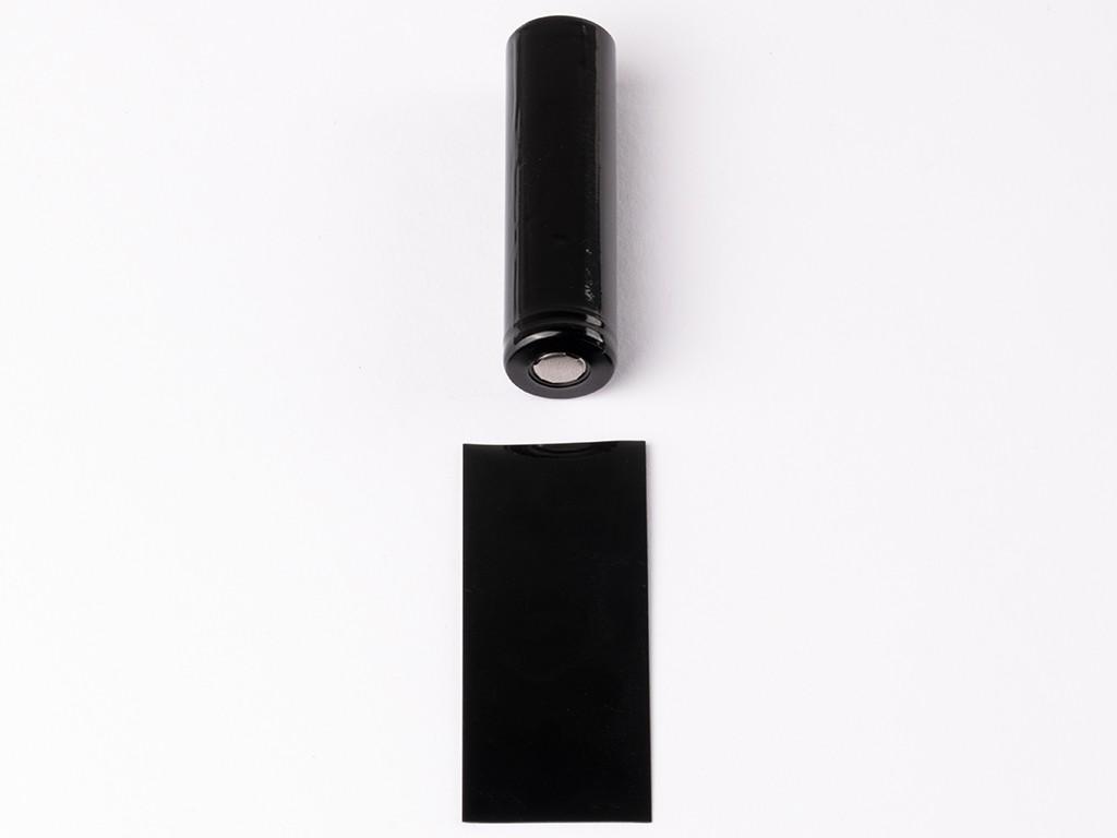 EU PVC teplem smršťovací obal na 18650 baterie Barva: Černá, Materiál: PVC