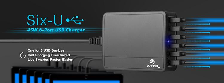 Xtar U1 six-U 6-Port USB 9A / 45W - nabíječka USB Barva: Černá, Kategorie: Nabíječka USB