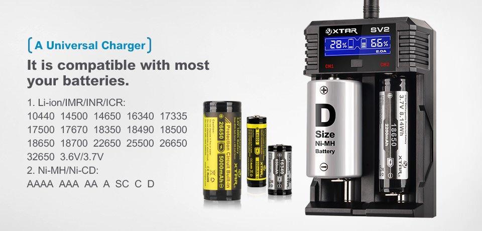 Xtar SV2 LCD nabíječka dvouslotová pro Li-Ion/Mn/Ni-MH/Ni-CD Barva: Černá, Výstup: 250-2000mAh