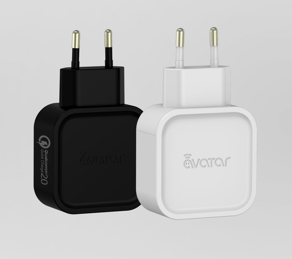 Univerzální USB-AC adaptér Avatar Quick Charge 2.0 Barva: Černá