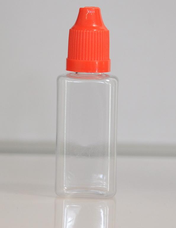 Tobeco Prázdná lahvička komplet 30ml PET Hranatá (víčko červené)