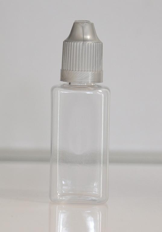 Tobeco Prázdná lahvička komplet 30ml PET Hranatá (víčko stříbrné)