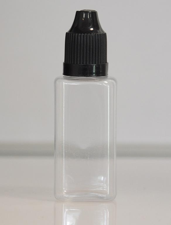 Tobeco Prázdná lahvička komplet 30ml PET Hranatá (víčko černé)