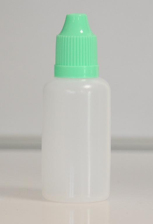Tobeco Prázdná lahvička komplet 30ml PE (víčko Zelená světlá)