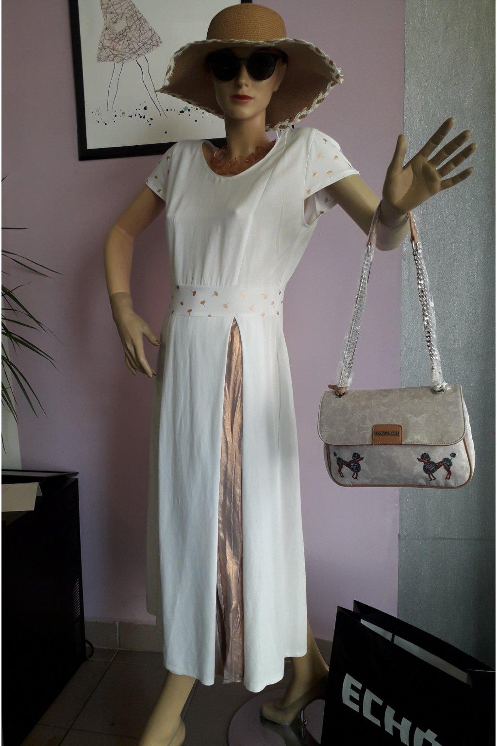 Loren - bílé lněné šaty s plisovanou vsadkou