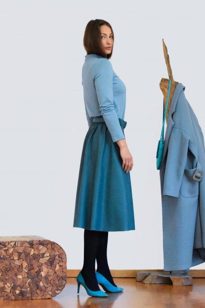 Modrá koženková sukně