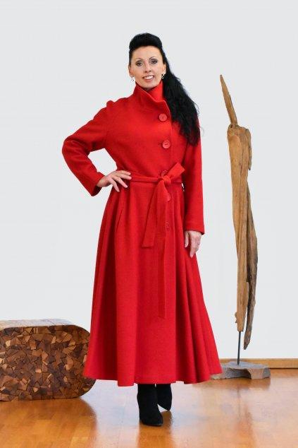 Červený vlněný maxi kabát
