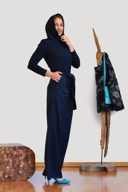 Tmavě modrý top s taftovou kapucí