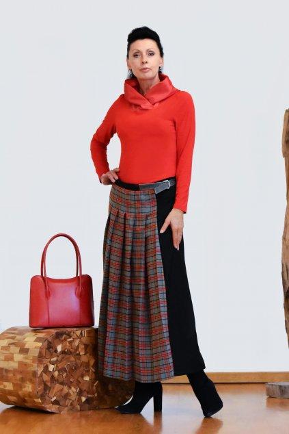 Kostkovaná maxi sukně