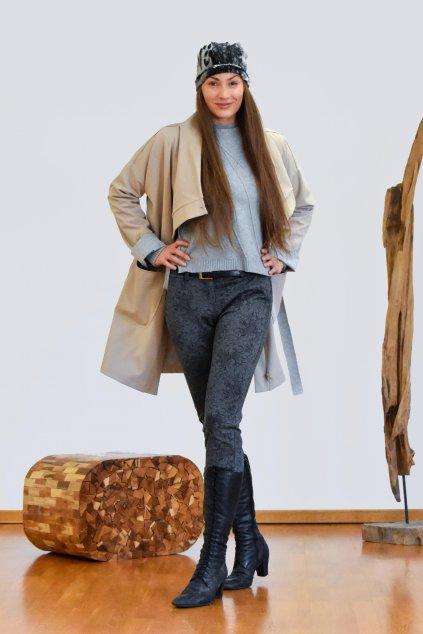 Tmavě šedé vzorované džíny