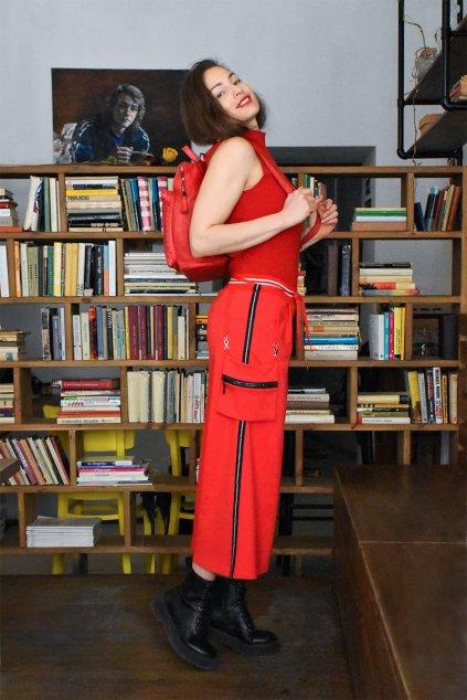 culottes z červené teplákoviny evie