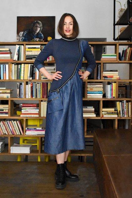 modré lněné šaty Zaira