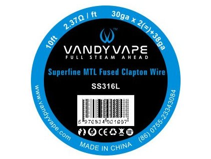 72524 vandy vape superfine mtl fused clapton ss316l