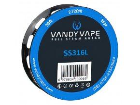 Vandy Vape SS316L - odporový drát - 28GA - 9m