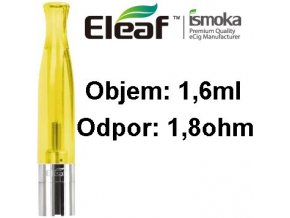 2009 ismoka eleaf bcc ct clearomizer 1 6ml 1 8ohm yellow