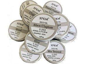 XFKM Mix Twisted SS316 předmotané spirálky 0,25ohm 10ks