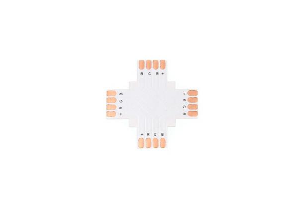 BERGE Spojka pro RGB LED pásky - X - CN14 - 10mm - 4pin
