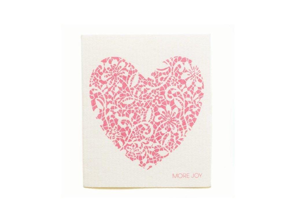 Prateľná hubková utierka More Joy - Červené srdce