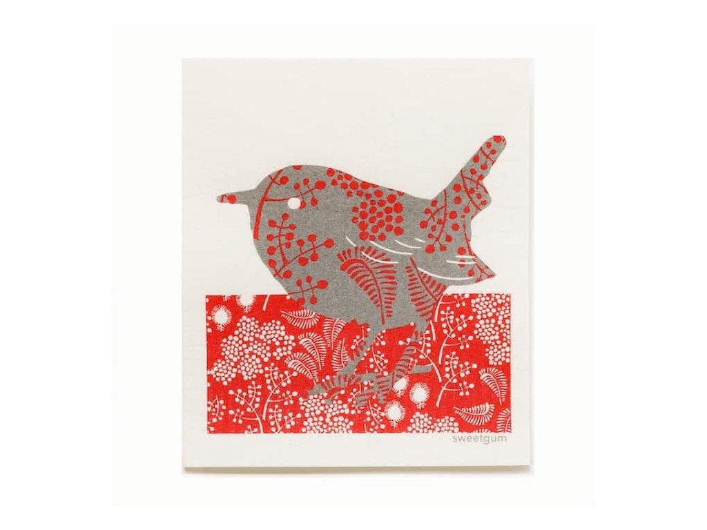Prateľná hubková handrička More Joy - Vtáčik