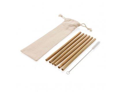 Sada (6) bambusových slamiek vrátane čistiacej kefky a obalu