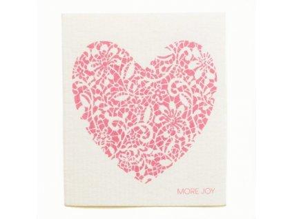 Prateľná hubková handrička More Joy - Červené srdce