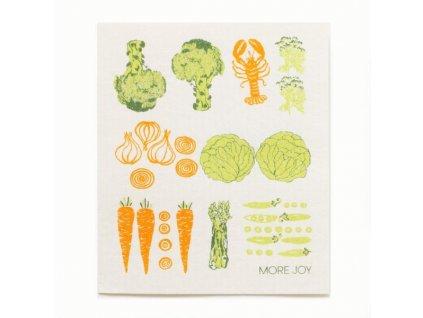 Prateľná hubková handrička More Joy - Zelenina